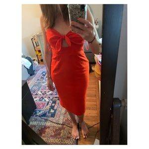 Anthropologie Orange Red Summer Dress S